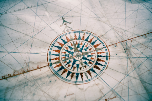 Stock photo: Old vintage map and compass