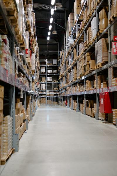 Stockfoto: Groot · lang · vol · magazijn · dozen · goederen