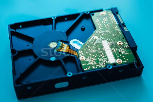 Rapide ordinateur disque dur bleu lentille Photo stock © ifeelstock