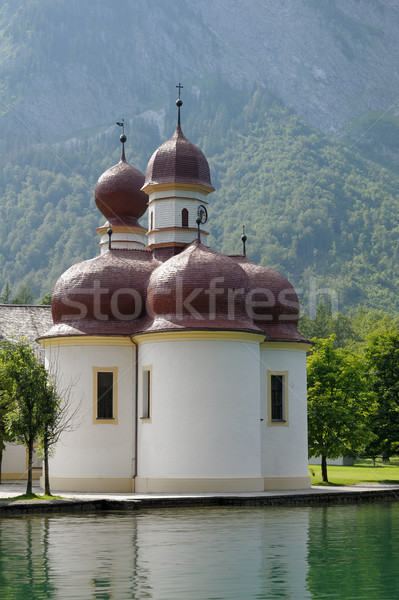 St Bartholomew's Church, Berchtesgaden National Park, Lake Konig Stock photo © ifeelstock