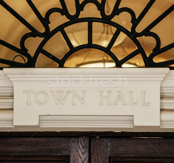 Town Hall sign above door Stock photo © ifeelstock