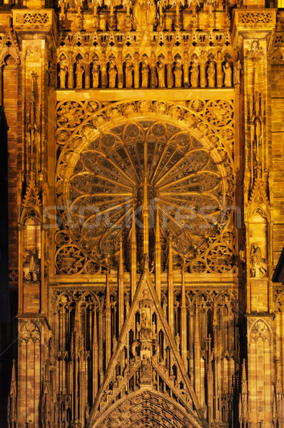 Detailed gable and rose window of cathedral Stock photo © ifeelstock