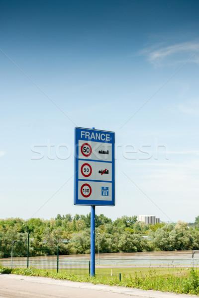 Foto d'archivio: Ingresso · Francia · cartello · stradale · benvenuto · velocità