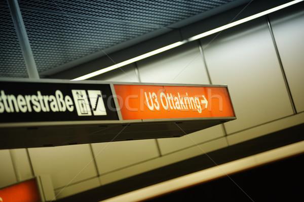 Subway station sign, Vienna, Austria Stock photo © ifeelstock