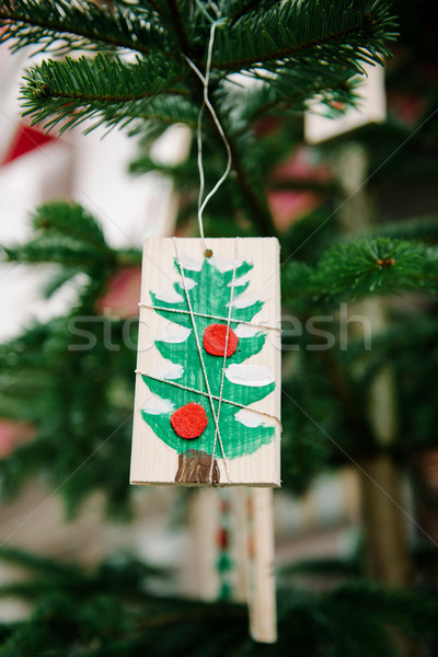 Kerstboom ornament kinderachtig stijl traditioneel hand Stockfoto © ifeelstock