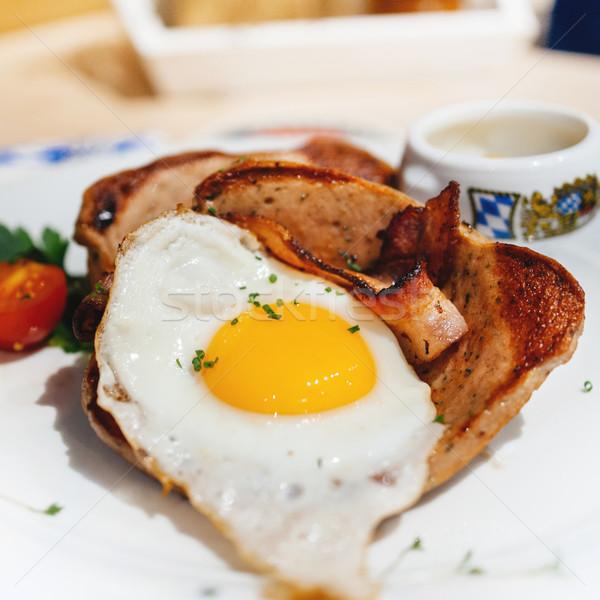 Tükörtojás szalonna gasztronómiai stílus étel tojás Stock fotó © ifeelstock