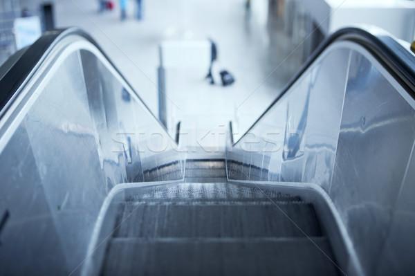 Roltrap luchthaven lens gebruikt trap Blauw Stockfoto © ifeelstock