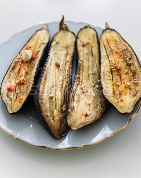 Gurme gıda ızgara patlıcan zeytinyağı gıda yaz Stok fotoğraf © ifeelstock