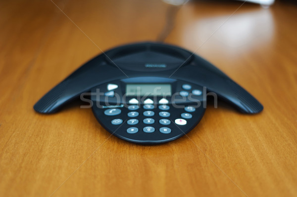 Conferentie business telefoon houten vergadering Stockfoto © ifeelstock
