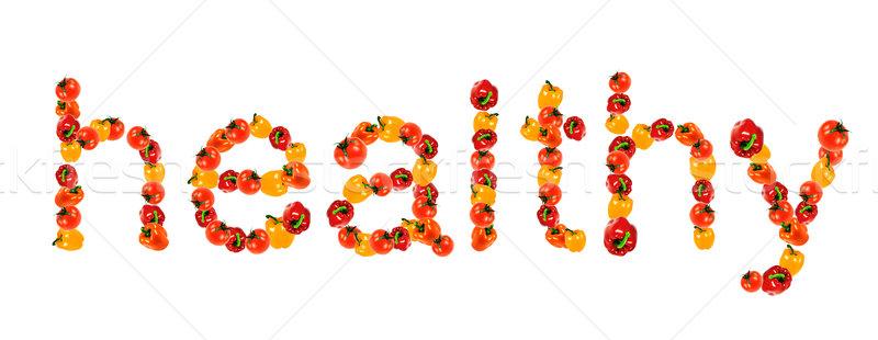 Stock fotó: Egészséges · szó · írott · zöldségek · friss · zöldségek · paprikák