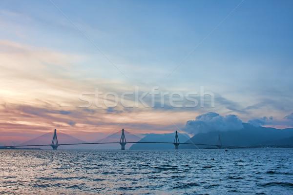 Rio köprü gerçek ad Yunanistan gün batımı Stok fotoğraf © igabriela