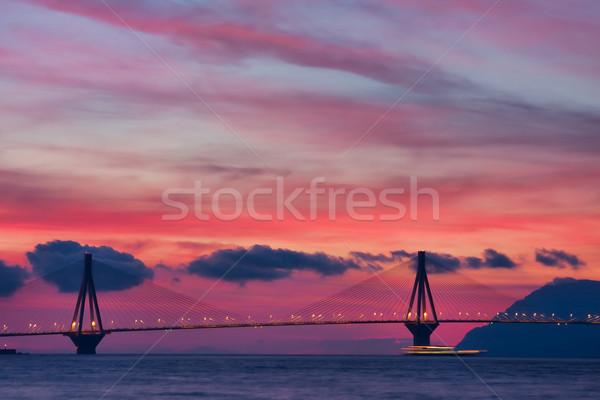 Rio híd igazi név Görögország naplemente Stock fotó © igabriela