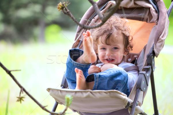 ребенка мальчика Открытый портрет сидят весело Сток-фото © igabriela