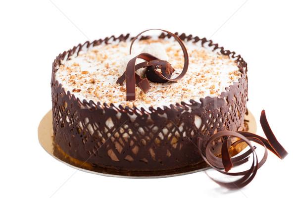 Pastel de chocolate casero blanco fondo torta trigo Foto stock © igabriela