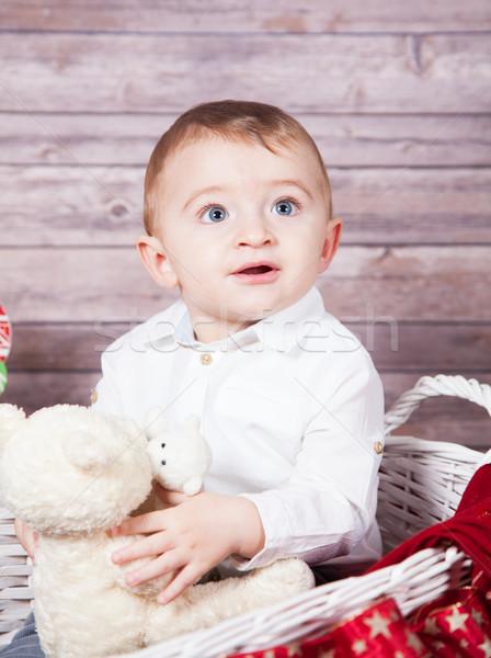 Stock fotó: Baba · fiú · karácsony · portré · 1 · éves · stúdiófelvétel
