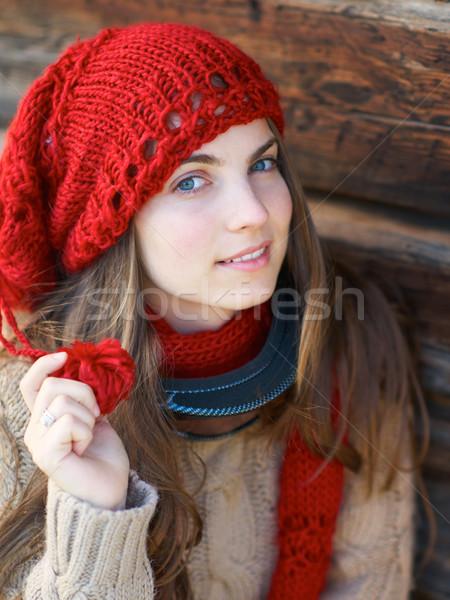 девушки красный Hat лыжных маске Сток-фото © igabriela