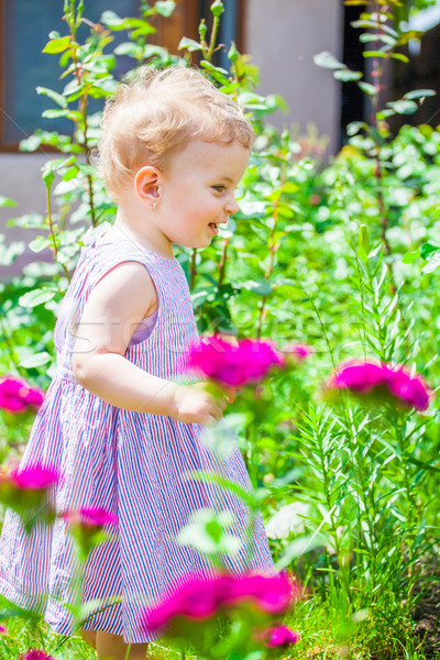 1 year old baby girl in the garden Stock photo © igabriela