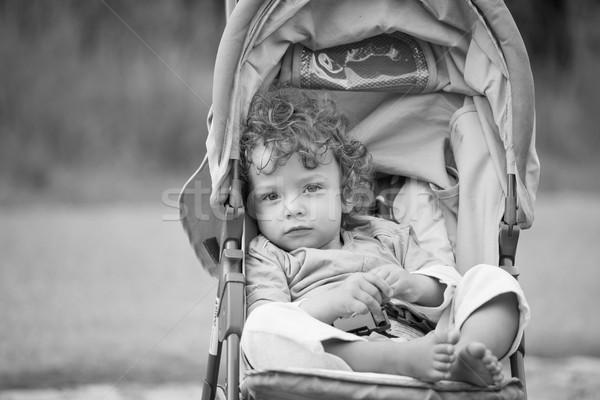 ребенка мальчика Открытый портрет 1 год черно белые Сток-фото © igabriela