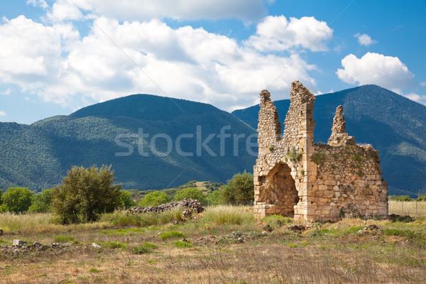 Mosteiro ruínas velho paisagem montanhas pedra Foto stock © igabriela