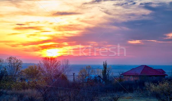 Восход деревне Румыния утра небе пейзаж Сток-фото © igabriela