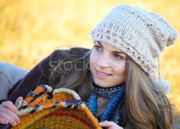 Сток-фото: счастливым · портрет · молодые · брюнетка · Открытый
