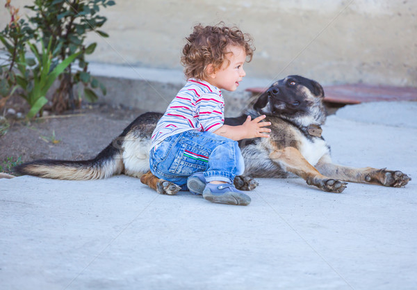 Stock photo: Baby boy playing with a dog