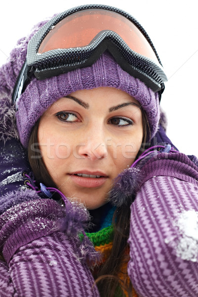 Stock photo: Portrait of happy woman in winter