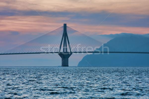 Рио моста реальный название Греция закат Сток-фото © igabriela