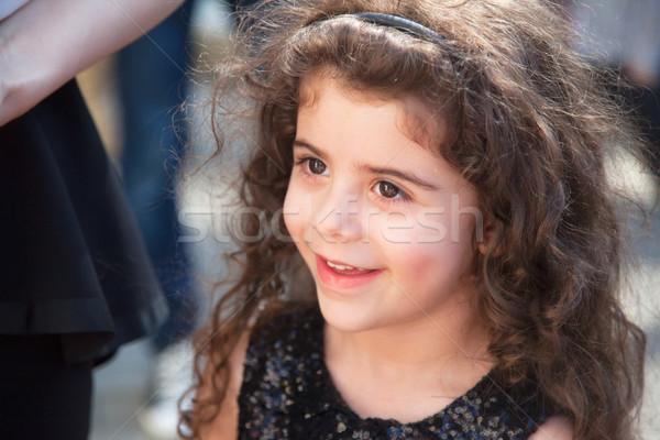 Portré csinos lány 5 éves kislány göndör haj Stock fotó © igabriela