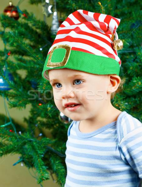 ребенка мальчика Рождества Cute 1 год портрет Сток-фото © igabriela