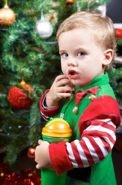 Baba karácsonyfa egyéves fiú szomorú szín Stock fotó © igabriela