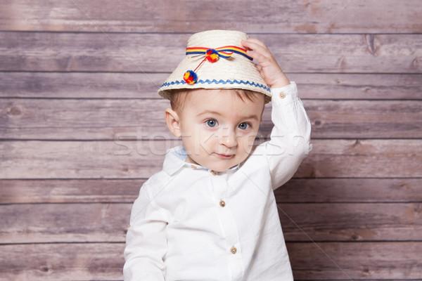 Román baba fiú portré 1 éves visel Stock fotó © igabriela