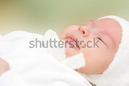 Novo nascido menina verde criança branco Foto stock © igabriela