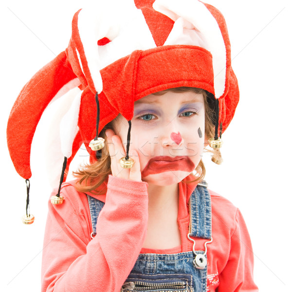 Tristesse petite fille enfant portrait Kid chapeau Photo stock © igabriela