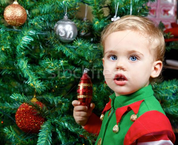 Gyönyörű baba fiú 1 éves karácsonyfa portré Stock fotó © igabriela