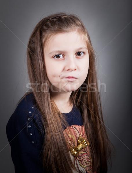 8 años nina retrato manos cara Foto stock © igabriela