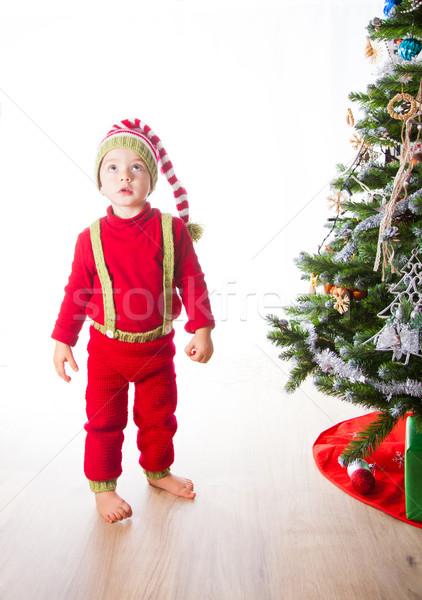 Bebé nino elfo 2 años Navidad disparo Foto stock © igabriela