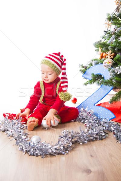 Baby boy dressed as elf Stock photo © igabriela