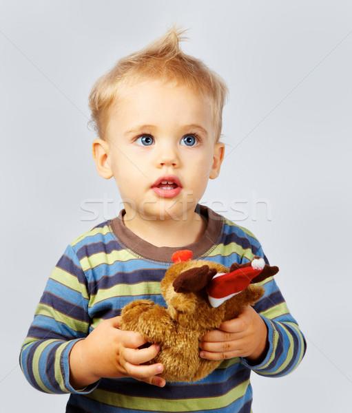 Baba fiú játék stúdió portré egyéves Stock fotó © igabriela