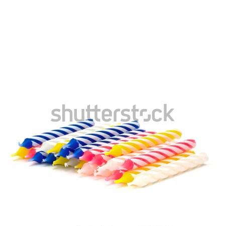 Születésnapi gyertyák izolált fehér buli születésnap háttér Stock fotó © igabriela