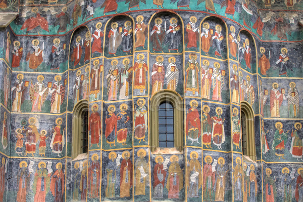 Fresk szczegół malowany klasztor Rumunia świat Zdjęcia stock © igabriela