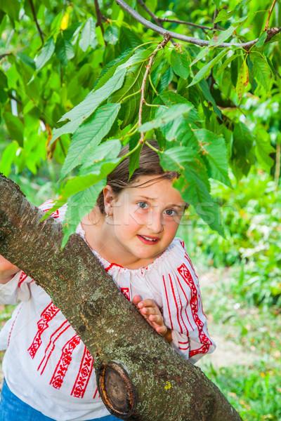 10 anni ragazza ritratto indossare rumeno tradizionale Foto d'archivio © igabriela