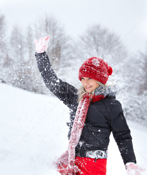 Young woman playing with snow Stock photo © igabriela