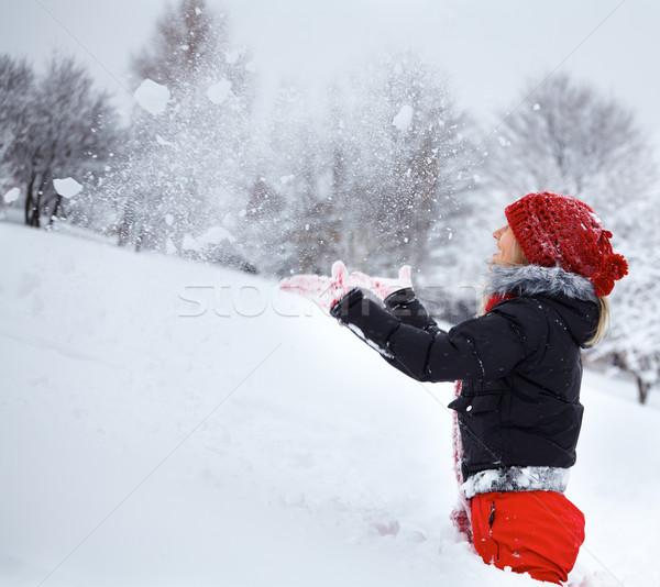 Stockfoto: Jonge · vrouw · winter · portret · mooie · 20