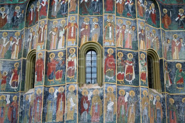 Stok fotoğraf: Boyalı · manastır · detay · Romanya · dünya · boya