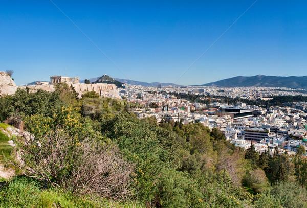 Panorama Atenas panorâmico ver Acrópole primavera Foto stock © igabriela