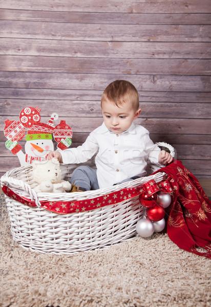 Baba fiú karácsony portré 1 éves stúdiófelvétel Stock fotó © igabriela