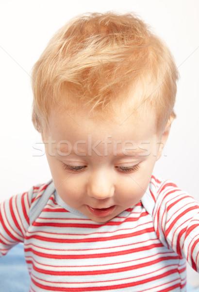 Meglepett boldog egyéves baba fiú gyerek Stock fotó © igabriela