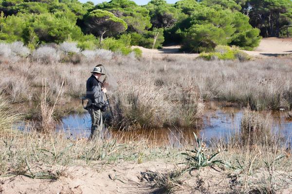 Biológus néz rovar net férfi természet Stock fotó © igabriela