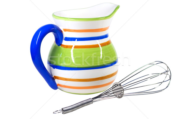 Pot fouet coloré isolé blanche poterie Photo stock © igabriela